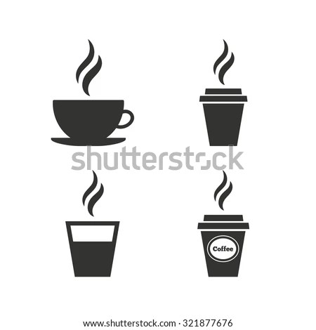 Coffee Cup Icon Hot Drinks Glasses Stock Vector 321877676