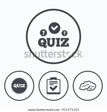 Quiz Icons Human Brain Think Checklist Stock Illustration