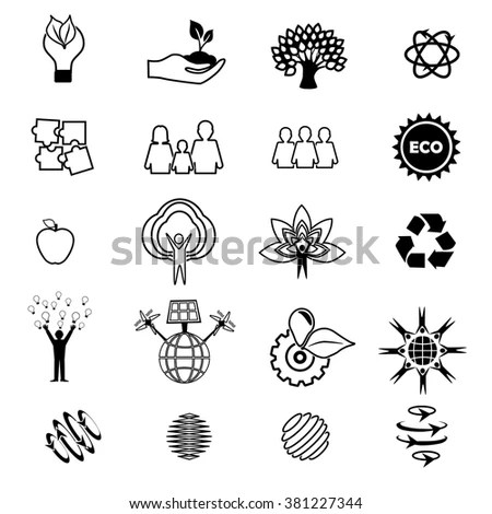 Vector Ecology Signs Icons Eco Friendly Stock Vector