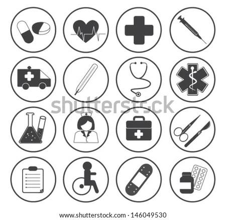 Health Care Medical Icon Set Stock Vector 136156391