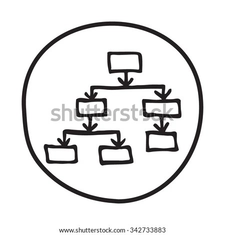 Doodle Flow Chart Icon Blue Pen Stock Vector 342733883