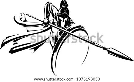 Spartan Spear Defensive Attack Vector de stock1075193030
