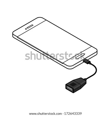 Usb Onthego Otg Cable Attached Mobile Stock Vector