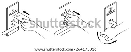 Electronic Keycard Door Opening Instructions Diagram Stock