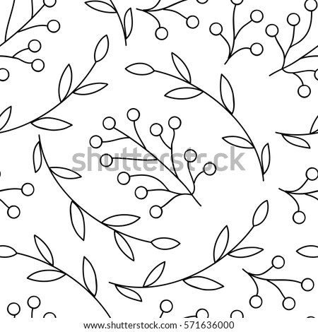 Vector Seamless Pattern Flowers Bubbles Leaves Stock