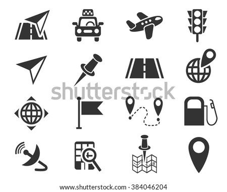Camping Drop Shadow Icons Set Hiking Stock Vector