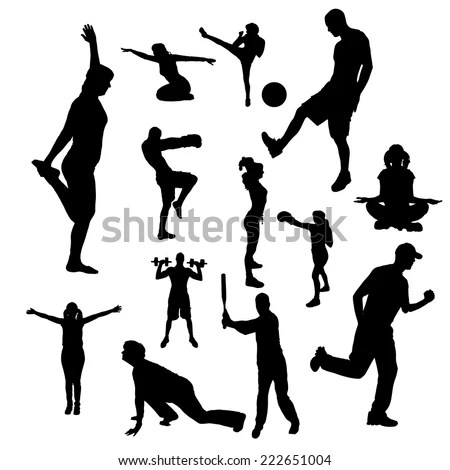 Collection Martial Art Silhouettes Check Out Stock Vector