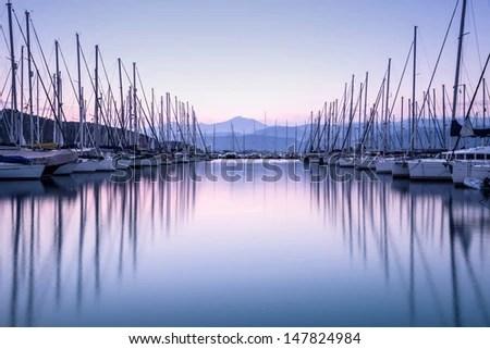 Large Yacht Harbor In Purple Sunset Light Luxury Summer