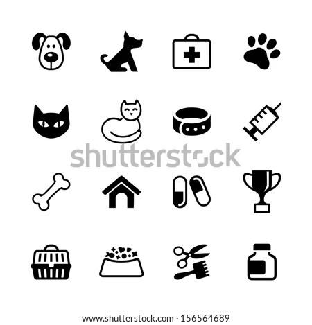 Icon Set Pets Vet Clinic Veterinary Stock Vector (Royalty