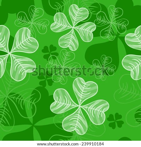 Seamless Pattern With Clover Leaves For Good Luck St