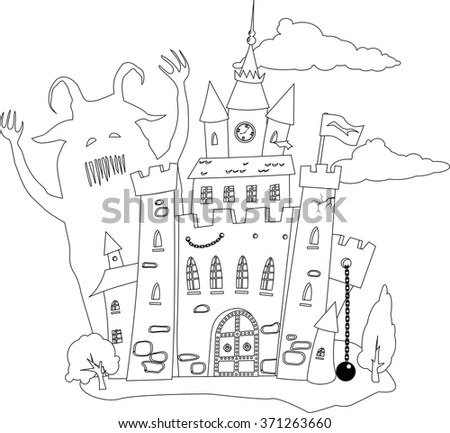 Coloring Book Page Outline Fairytale Castle Stock Vector