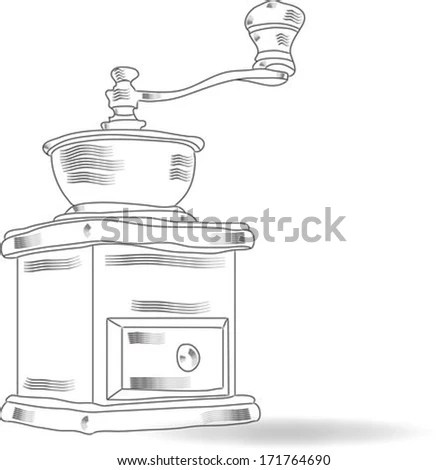 New Coffee Grinder On White Background Stock Photo