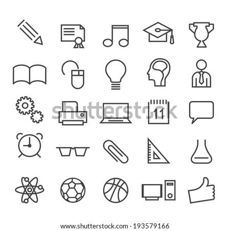 Set Minimal Education Thin Line Icons Stock Vector