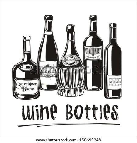 Template Bar Menu Alcohol Drink Bottle Stock Vector