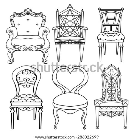 Furniture Hand Drawn Set Vintage Chair Stock Illustration