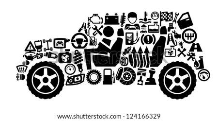 Vector Black Auto Icons Set On Stock-Vektorgrafik