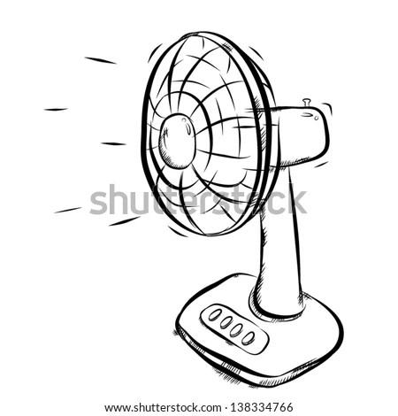 Electrical Fan Working Vector Cartoon Illustration Stock
