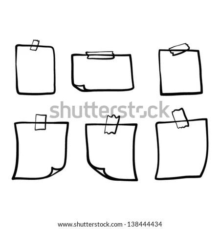 Memo Note Paper Pin Cartoon Vector Stock Vector 233645629