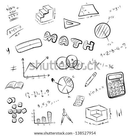 Vector Cartoon Illustration Set Mathematics Symbol Stock
