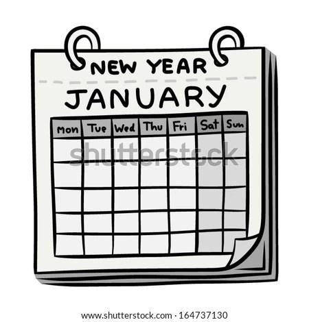 new year or January calendar / cartoon vector and