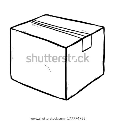 closed cardboard paper box / cartoon vector and