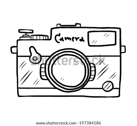 Vintage Camera Cartoon Vector Illustration Black Stock