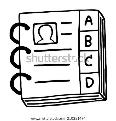 contact book / cartoon vector and illustration, black and