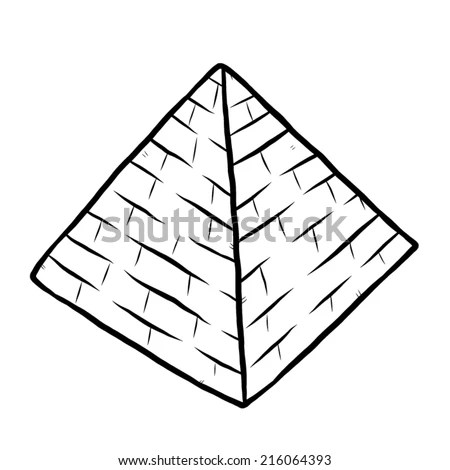 Pyramid Cartoon Vector Illustration Black White Stock