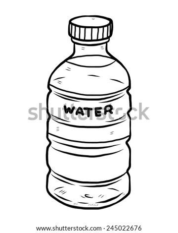Water Bottle Cartoon Vector Illustration Black Stock