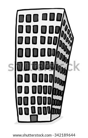 Building Cartoon Vector Illustration Black White Stock