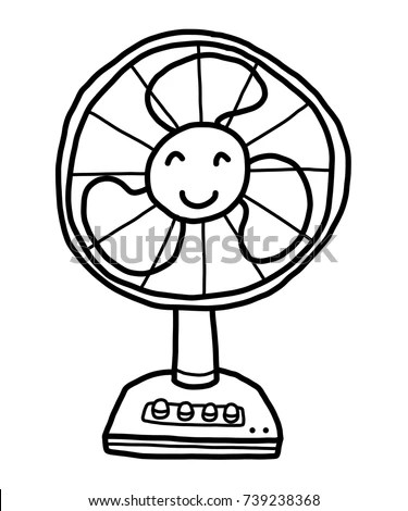 Electrical Fan Working Vector Cartoon Illustration Stock