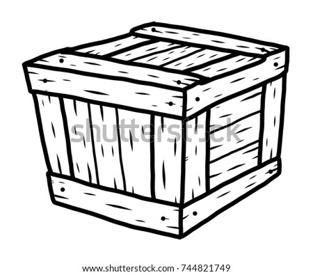 Wooden Box Cartoon Vector Illustration Black Stock Vector