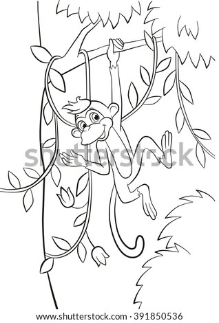 Coloring Pages Little Cute Monkey Hanging เวกเตอร์สต็อก
