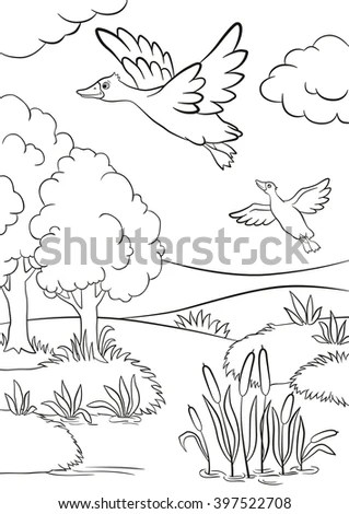 Withered Flowers Swallows Flying Sky Stock Vector 53325994