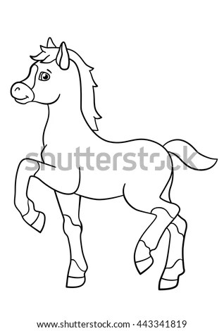 Coloring Pages Farm Animals Little Cute Stock Vector