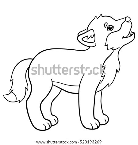 Coloring Pages Little Cute Baby Wolf Stock Vector