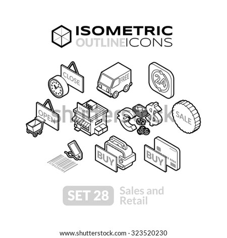 Isometric Outline Icons 3d Pictograms Vector Stock Vector