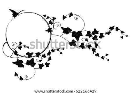 Vector Frame Butterfly Ivy Black White Stock Vector