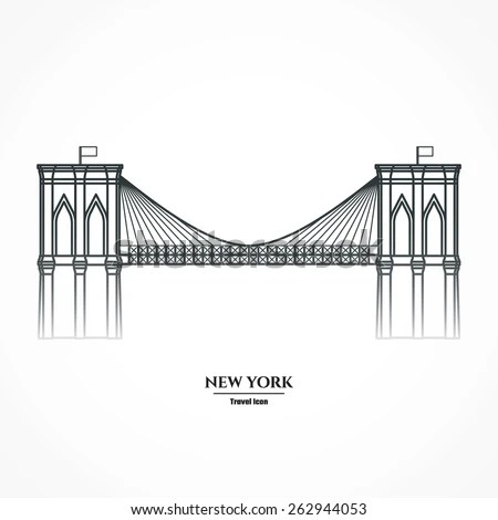 Vector Illustration Outline Brooklyn Bridge Icon Stock