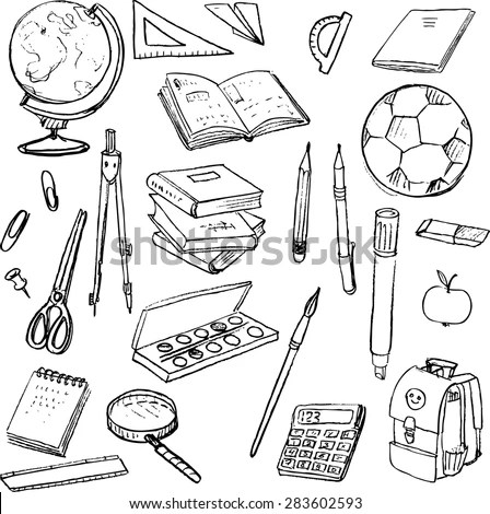 Set School Objects Doodle Tools Learning Stock Vector