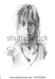 sketch girl stock 316450139