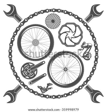 Vector Illustration Emblems Bike Repair On Stock Vector