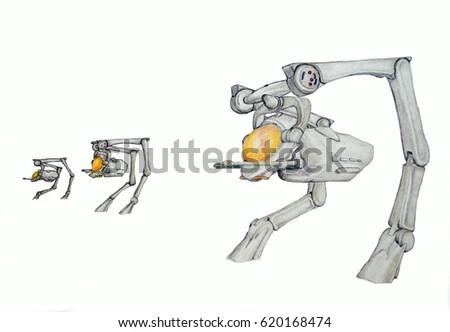 3d Rendering Robotic Hydraulic Arm Stock Illustration