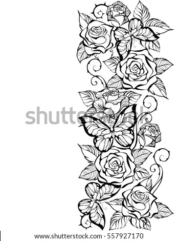 Border Contour Roses Butterflies On White Stock Vector