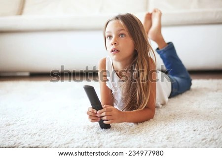 Child Watching Tv Stock Photos Images Pictures