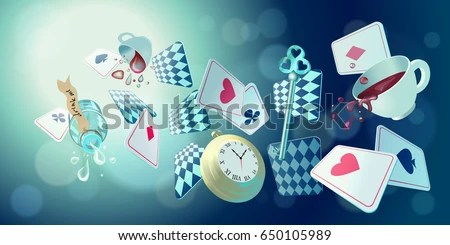 Falling Down The Rabbit Hole Wallpaper Alice Wonderland Playing Cards Pocket Watch Stock Vector