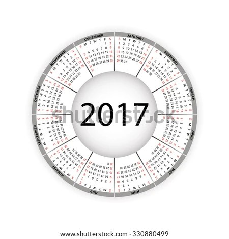 Round Calendar 2017 Year Vector Eps10 Stock Vector