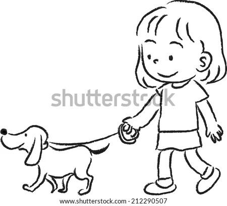 Child Walking Dog Stock Images, Royalty-Free Images