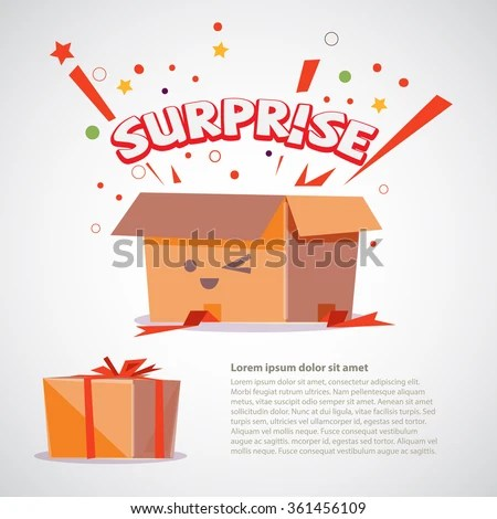 Cardboard Box Surprise Text Design Character Stock Vector