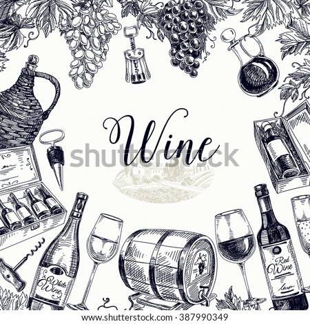 Vector Background Hand Drawn Wine Bottle Stock Vector